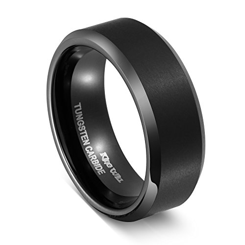 King Will BASIC Men Wedding Black Tungsten Ring 8mm Matte Finish Beveled Polished Edge Comfort Fit 8