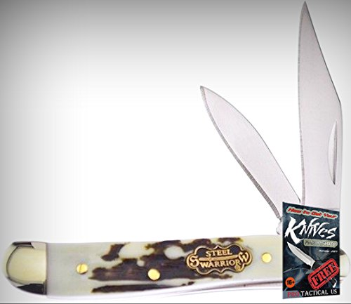 Frost SW107SBR Little Peanut Stag Bone Mirror Folding Limited Elite Knife 2 Blades Folder + free eBook by ProTactical'US ()