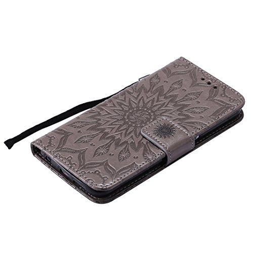 Tasche für Galaxy S6, Handyhülle Galaxy S6 Leder Hülle Asnlove Premium Ledertasche im Ständer Book Case Brieftasche Flip Case Cover Schutzhülle mit Kartenfach Magnetverschluss und Standfunktion Unters grey