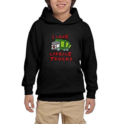 cheap Pulongpoq Love Garbage Trucks Youth Boys/Girls Long Sleeve Hoodie Sweatshirt Pullover Hood SozeKey Black