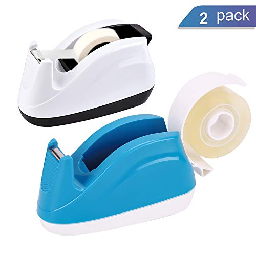 Ktrio Heavy Duty Tape Dispenser - Office Desktop Tape Dispenser for 1 2 or 3 4 Inch Scotch Magic Tape Staples Invisible Tape Sparco Invisible Tape Non-Slip One-Hand Disposal 2 Pack