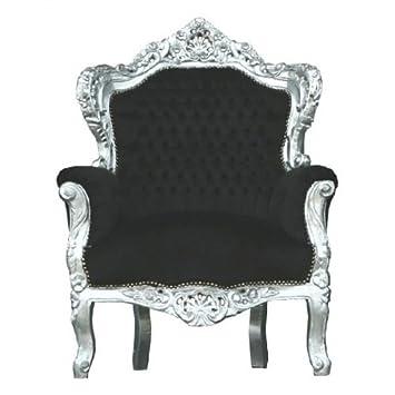 Casa Padrino Barock Sessel \'King\' Schwarz/Silber