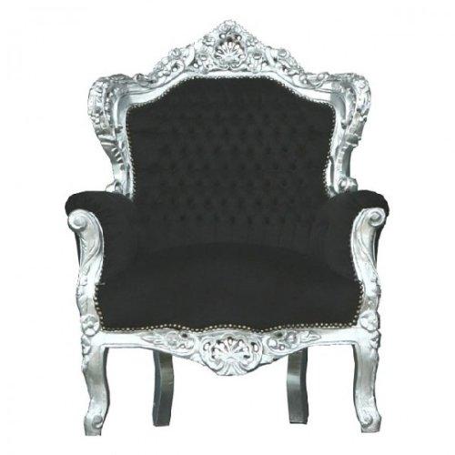 Casa Padrino Barock Sessel King Schwarz Silber Amazon De Küche