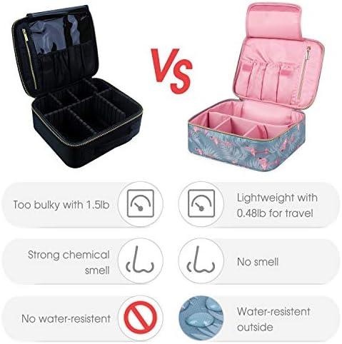 Travel Makeup Bag Large Cosmetic Bag Makeup Case Organizer for Women and Girls (Flamingo) 4