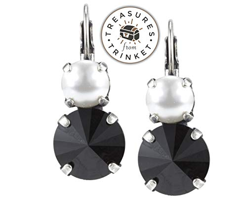 Swarovski Lever back Earrings 8mm Pearl and 12mm Jet Black Crystal Nickel Free Pick Finish! - tfte52