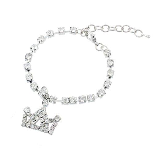 Woaills Dog Jewelry, Pet Diamante Crown Rhinestone Pendant Necklace Collar (S, White)