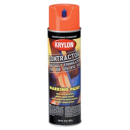 17 Oz Fluorescent Orange Solvent Based Contractor Marking Spray Paint [Set of 6] ()