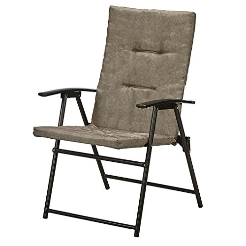 Jaclyn Smith Neutral Padded Patio Folding Chair with Durable Powder Coated Steel Frame by Jaclyn Smith
