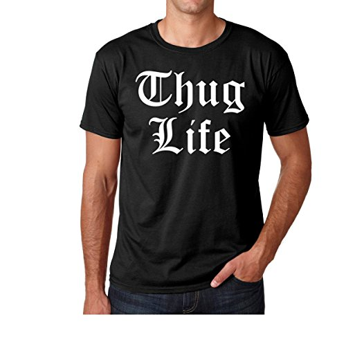 AW Fashions Thug Life - Old English, Gangsta - Funny Gangster Premium Men's T-Shirt (Medium, Black) -