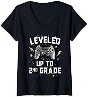 [Featured] Womens Leveled Up To 2nd Grade Video Games Gamer School Kids Boys V-Neck in ALL styles | Size S - 5XL