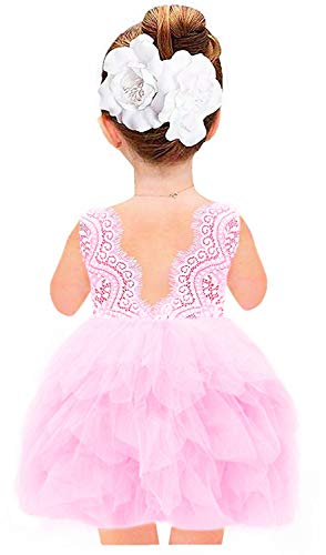 - 2Bunnies Girl Beaded Peony Lace Back A-Line Tiered Tutu Tulle Flower Girl Dress (All Pink Beading, 3T)