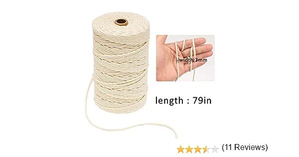 Y56 3 mm de diámetro, 200 m de largo, cuerda de algodón natural ...