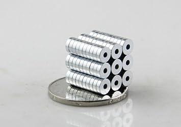 Ringmagnet Kühlschrankmagnet Neodymium Magnets starker Magnet Geocaching 10 Stück ! Neodymmagnet Magnet mit Loch Magnet mit Bohrung Magneten 5 mm x 1,5 mm Loch 1,5 mm
