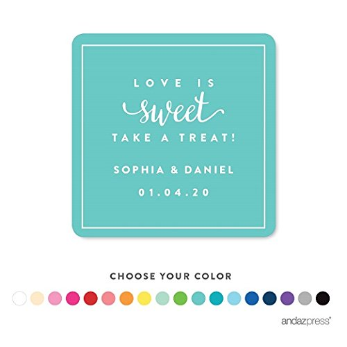 Andaz Press Personalized Square Labels Stickers, Wedding, Love is Sweet Take a Treat, 40-Pack - Custom Made Any Name, For Kids Birthday, Graduation, Baptism, Bake Sale, Food and Bath Business Labels by Andaz Press