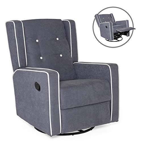 Best Choice Products Mid-Century Modern Tufted Upholstered Swivel Recliner Lounge Rocking Chair for Nursery, Home, Living Room, Study w/ 360-Degree Swivel Base, Full Recline - Gray