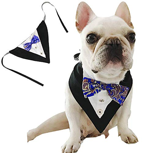 - ANIAC Formal Dog Tuxedo Bandanas with Bow Tie Pet Costume Tail Collar Adjustable Neck Accessories Party Suit Wedding Neckwear Scarf for cat and Dogs (Blue)
