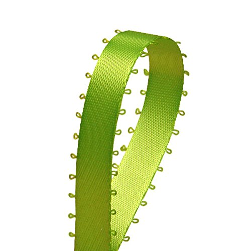 """3/8"""" X 50 Yards Apple Green Double Face Picot Ribbon"""