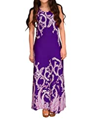 Peach Couture Sleeveless Paisley Scoop Neck Beach Maxi Tank Dress Purple XL