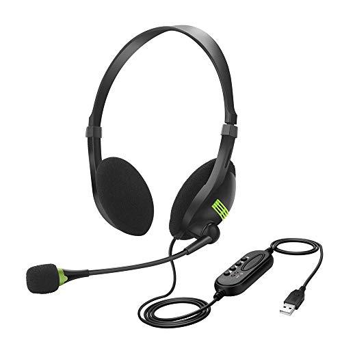 [해외]마이크 컴퓨터 헤드셋이 있는 Hongzan USB 헤드셋 및 노이즈 캔슬링 콜 센터 경량 오버 이어 헤드폰 PC노트북맥학교어린이용(1팩) / Hongzan USB Headset with Microphone Computer Headset with Noise Cancelling Call Center Lightweight Over Ear...