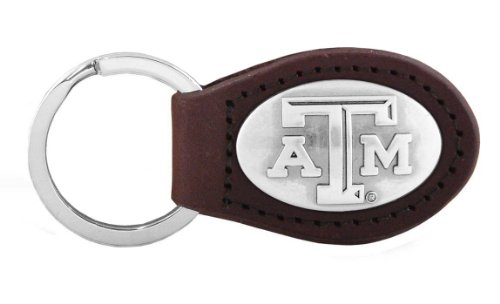 Keychain Aggies (NCAA Texas A&M Aggies Zep-Pro  Leather Concho Key Fob, Brown)