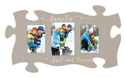P. GRAHAM DUNN Family First & Forever Tan 12 x 12 Inch Wood 3 Photo Frame Puzzle Piece Wall Plaque ()