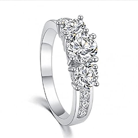 JoGray Women's 18K Silver Plated Round Cut Sim Diamond CZ Pave Three Stone Accent Bridal Engagement Wedding Band Ring US - Sterling Silver Engagement Plated Ring