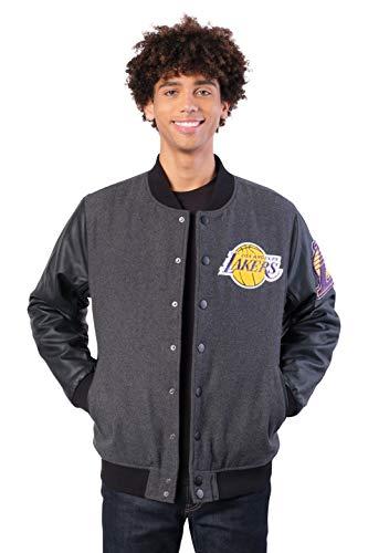 Ultra Game Men's NBA Full Zip Classic Varsity Jacket, Los Angeles Lakers, Charcoal Heather, Medium (Men Team Varsity Jackets)