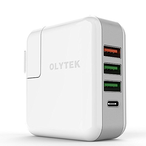 OLYTEK UH-43WT Type-C USB-C Rapid Wall Charger, 4-Port Portable QC 3.0 Universal Charging Station for Samsung, iPhone, iPad, and MAC Device Wall Solid Travel USB Charger (White) (Mac Charging Station)