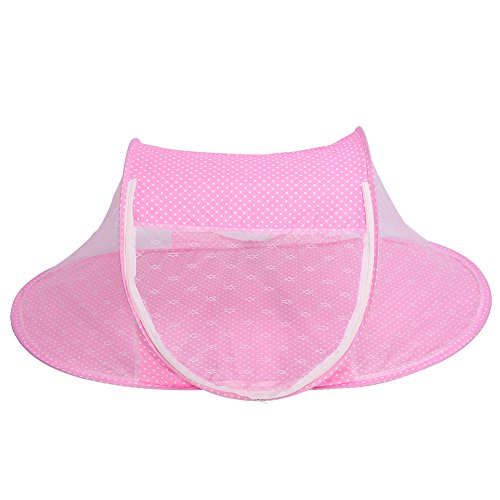 GLOGLOW Baby Infant Bed Canopy Mosquito Net, Foldable Baby Infant Pop Up Crib Cradle Anti-Bug Tent Mosquito Mesh Net Portable Nursery Bed Crib Canopy Travel Bed Play Shades(Pink) from GLOGLOW