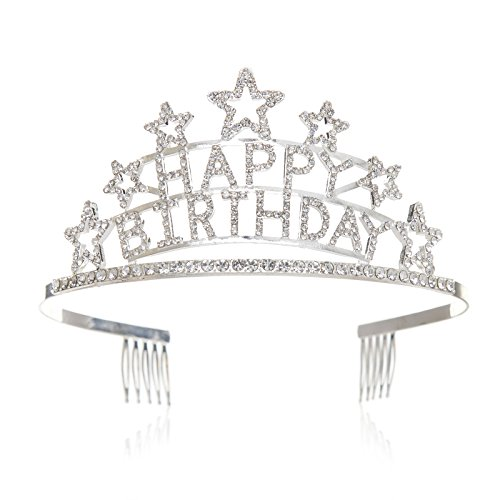 SWEETV Crystal Birthday Tiara Rhinestone Princess Crown Happy Birthday Crowns, Clear