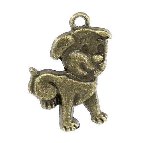 Paquet 5 x Steampunk Bronze Antique Tibétain 21mm Breloques Pendentif (Chien) - (ZX13015) - Charming Beads