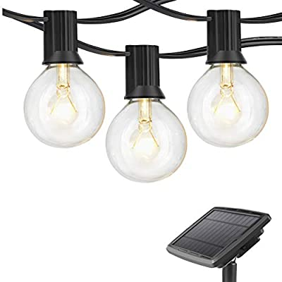 WIXANN Solar Powered LED Outdoor String Lights, Hanging Retro Edison Filament Bulbs, 25 Bulbs per Strand, 4400-mAh, Weatherproof, 27 Ft Globe Lights Create Bistro Ambience in Your Yard, Pergola