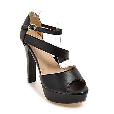 LvYuan Tacón Robusto-Zapatos del club-Sandalias-Informal-Semicuero-Negro Rosa Blanco Black