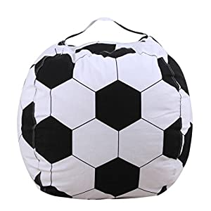 Coerni Stuffed Animal Storage Bean Bag Chair - Cotton Perimeter 55'' (Soccer)