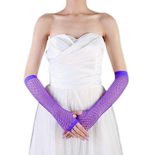 Punk Dance Costumes (Binmer(TM) Punk Goth Lady Disco Dance Costume Lace Fingerless Mesh Fishnet Gloves (Purple))