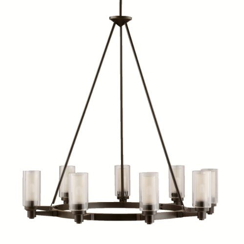 Kichler Lighting 2346OZ Circolo 9-Light Oval Chandelier Olde Bronze with Clear Glass Cylinders and Umber-Etched Inner Cylinders