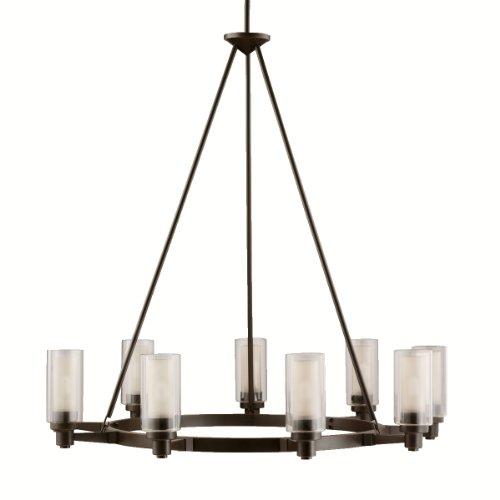 Kichler 2346OZ, Circolo Glass 1 Tier Chandelier Lighting, 9 Light, 540 Watts Halogen, Olde Bronze