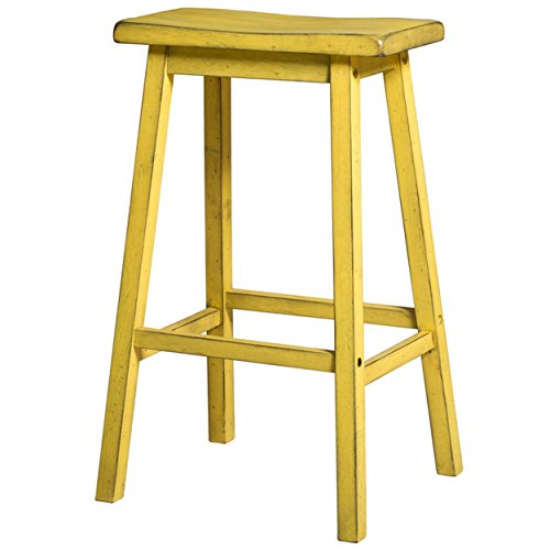 Contemporary Style 24 inch Counter Height Bar Stools with Saddle Seat | Yellow Finish, Wood Frame, Home Decor (Set of 2) - Includes Modhaus Living Pen (Yellow) - Saddle Style Bar Stool