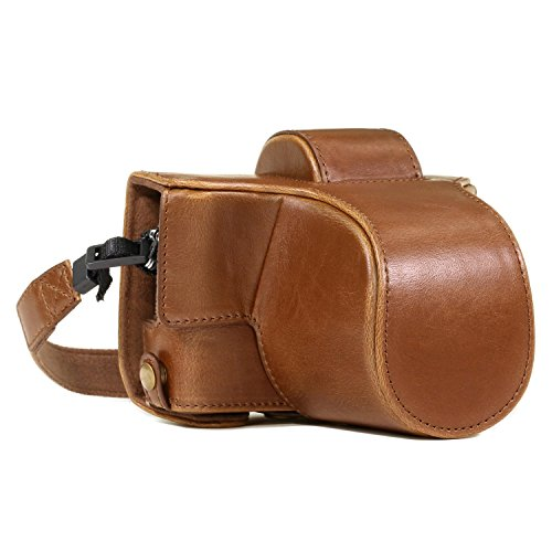 MegaGear MG919 Olympus PEN E-PL8 Ever Ready Leather Camera Case and Strap - Light Brown ()