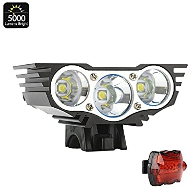 "CREE XM-L U2 Bike Light Kit ""RoadRunner II"" - 5000 Lumen Front Light, Rear Light, Rechargeable Battery Pack, Quick Fitting from CREE"