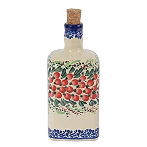 Traditional Polish Pottery, Handcrafted Ceramic Olive Oil or Vinegar Bottle 550ml, Boleslawiec Style Pattern, V.101.Cranberry