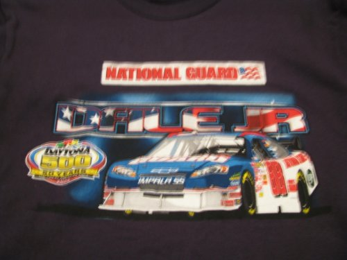 Dale Earnhardt Jr #88 Winners Circle Blue 50th Anniversary of Daytona 500 National Guard Shirt With Car of Tomorrow COT Size Medium