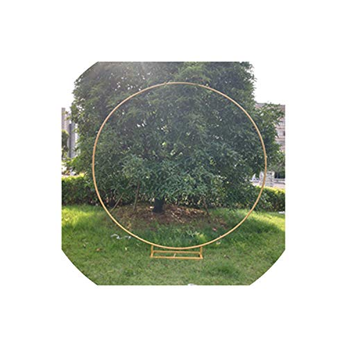 Tokyo Cold Circle Wedding Arch Background Wrought Iron Shelf Decorative Props Round Party Background Shelf Flower with Frame,Diameter 1 Meter,Gold B Square Base