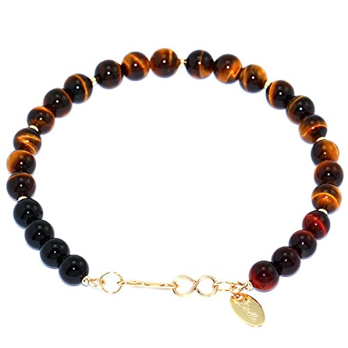 Handmade 14-kt Gold Filled Brass Bracelet with Yellow & Red Tiger Eye, Onyx & Gold Filled Beads, 8