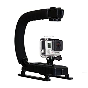 Opteka X-GRIP Professional Action Stabilizing Handle Specifically Made for GoPro HD Hero5, Hero4, Hero3 and Session with Accessory Shoe for Flash, Mic, or Video Light (Black)