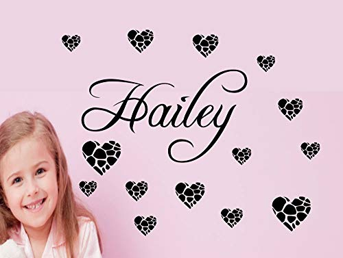 (BYRON HOYLE Personalized Name with 13 Hearts. Vinyl Wall Decal Girl Teen Wall Art Bedroom playroom rec Conversation Sharp)