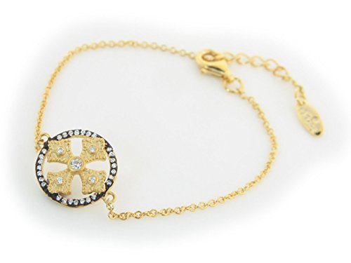 Fronay Collection Cross Etruscan Design Satin Vermeil Cz Bracelet 6