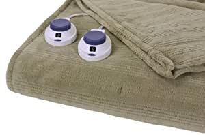 Serta Luxurious Low-Voltage Electric Heated Micro-Plush Triple-Rib Queen Blanket, Soft Sage