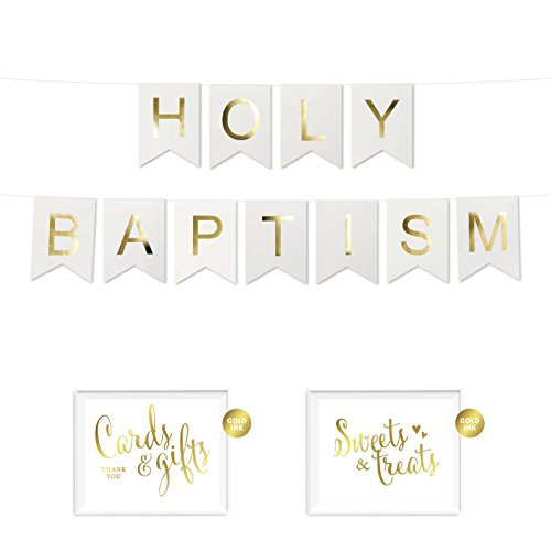 Andaz Press Shiny Gold Foil Paper Pennant Hanging Banner with Gold Party Signs, Holy Baptism, White, Pre-Strung, No Assembly Required, 1-Set ()