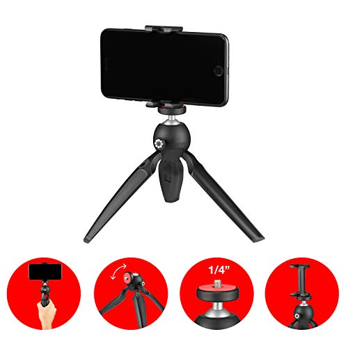 Joby Handypod Mobile Mini Tripod with GripTight One Mount for Smartphone, Vlogging, DSLR, CSC and Compact Cameras, LED, Microphones, Action Cameras and Accessories Up to 2.2lbs (JB01560) Black